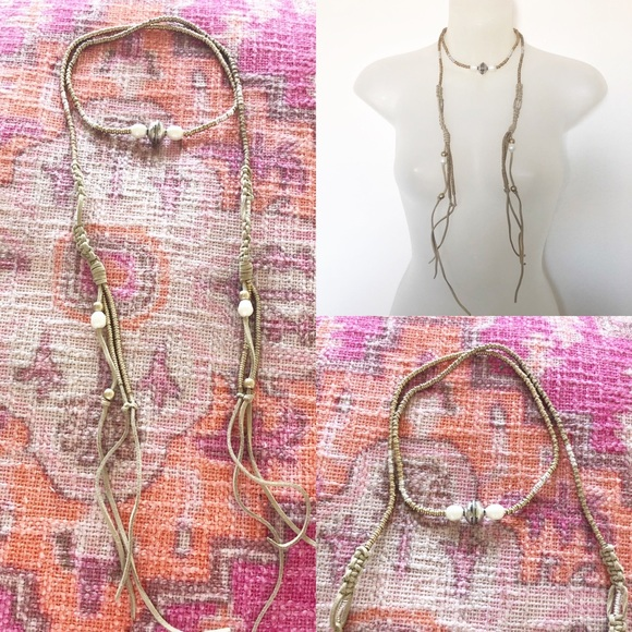 Jewelry - NWOT Vegan Leather Cord and Bead Wrap Necklace